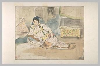 Delacroix Eugène, Femme arabe assis sur des coussins, aquarelle et mine de plomb, H. 00,107 m ; L. 00,138 m © Musée du Louvre, Département des Arts graphiques, RMN