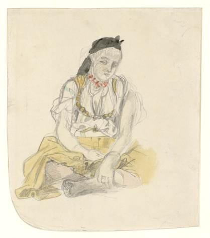 Delacroix Eugène, Femme d'Alger, 1832, Mine de plomb et aquarelle, H. 0,138 ; L. 0,120 m, Musée Fabre, Montpellier © Musée Fabre - Montpellier Agglomération