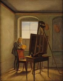 """Gustaf Friedrich Kersting: """"Caspar David Friedrich in seinem Atelier""""."""