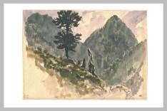 Delacroix Eugène, Paysage avec un sapin sur le flanc d'une montagne, 1845, aquarelle - mine de plomb, H. 00,181 m ; L. 00,250 m, Département des arts graphiques, Musée du Louvre, Paris © Musée du Louvre, Département des Arts graphiques, RMN