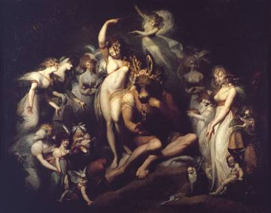 Henry fuseli (1741-1825), Titania ans Bottom,vers 1790, huile sur toile, 2,17x2,75m, disponible sur la Tate gallery http://www.tate.org.uk/art/artworks/fuseli-titania-and-bottom-n01228 (Consulté le 2/04/13)