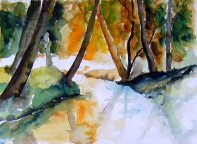 aquarell, bach, bäume, wald, waldviertel, niederösterreich