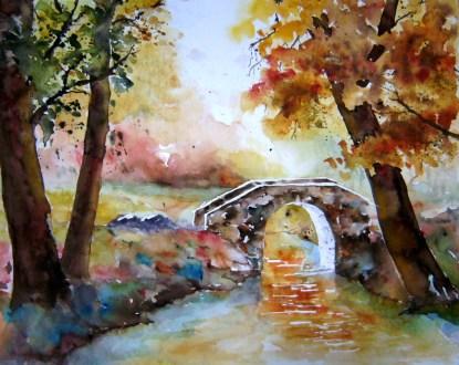 aqiarell, herbst, brücke, park, watercolor, autumn, fall, bridge