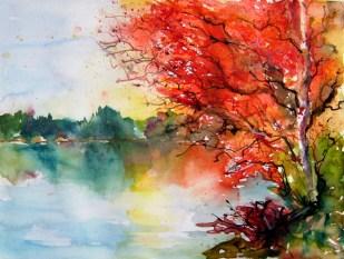 aquarell, rot, baum, roter baum, teich, herbst, watercolor, autumn, fall