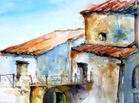 aquarell, gebäude, fenster, balkon, brücke, watercolor building, window