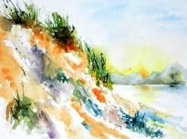 aquarell, watercolor, waldviertel, langau, bergwerk, bergwerssee, see, lake, teich, steilküste, böschung, landschaft, cliff, landscape, lac, paysage, aquarelle