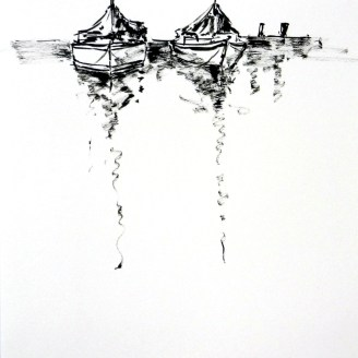 tusche, tuschpinsel, ink, indian ink, encre de Chine, lavis, turner see, kärnten, boot, boat, bateau, see, lake, lac