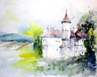 aquarell, watercolor, aquarelle, burg, schloss, castle, château fort, château, retzerland, waldviertel, weinviertel, starrein