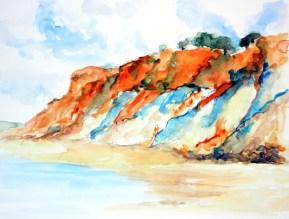 aquarell, watercolor, aquarelle, abhang, slope, pente, küste, coat, shore, cote, steilküste, cliff, cliff line, bluff, falaise, frankreich, france,