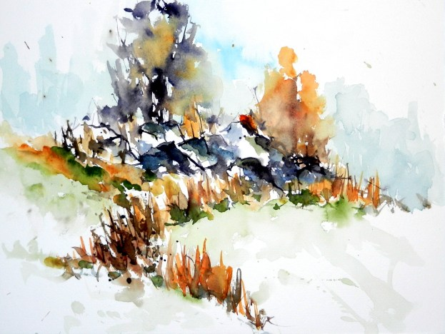 aquarell, watercolor, aquarelle, bäume, trees, arbres, landschaft, landscape, paysage, winter, hiver, waldviertel