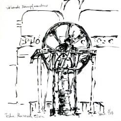tusche, tuschpinsel, ink, indian ink, encre de Chine, lavis, museum, musée, technik, technical, technique, zusammen zeichnen, stehende, dampfmaschine