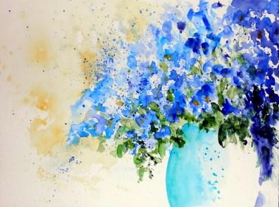 aquarell, watercolor, aquarelle, vergissmeinnicht, forget-me-not, myosotis, blumentopf, flowerpot, flower pot, plant pot, godet, pot de fleurs, blume, flower, fleur, blumenvase, flower vase, vase, vase à fleurs,