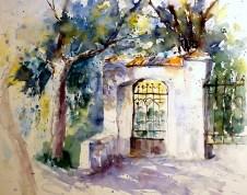 aquarell, watercolor, aquarelle, kirche, church, église, tor, gate, porte, tür, door, porte, kirchhof, churchyard, graveyard, cimetère, pulkau, retzerland