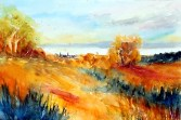 aquarell, watercolor, aquarelle, hügel, hill, colline, see, lake, lac, burgenland, neusiedler see, rust, st. margarethen