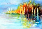 aquarell, watercolor, aquarelle, bodensee, schilf, reed, roseau,