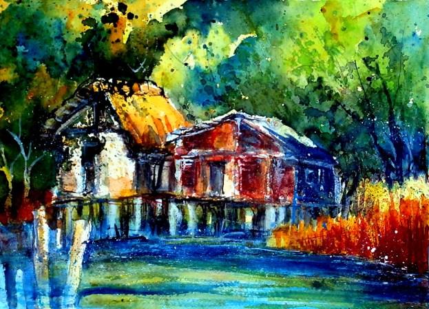 aquarell, watercolor, aquarelle, pfahlbauten, stilt houses, palafitte, uhldingen, bodensee, hütte, cabin, hut, cabane,