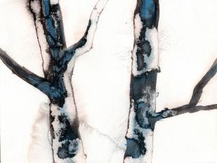 aquarell, watercolor, aquarelle, acquerello, acuarela, waldviertel, bäume, trees, arbres, albero, árbol, baumstamm, trunk, tree trunk, tronc, tronco, nebel, fog, mist, brouillard, brume, antinebbia, fumogeno, niebla, bruma, tusche, tuschpinsel, ink, indian ink, encre de Chine, lavis, rimel, tinta china, aplauso,