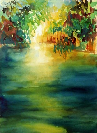 aquarell, watercolor, aquarelle, acquerello, acuarela, teich, pond, étang, laghetto, stagno, retzbach