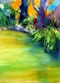 aquarell, watercolor, aquarelle, acquerello, acuarela, teich, pond, étang, laghetto, stagno, bäume, trees, arbres, albero, árbol, garten, garden, jardin, giardino, giverny
