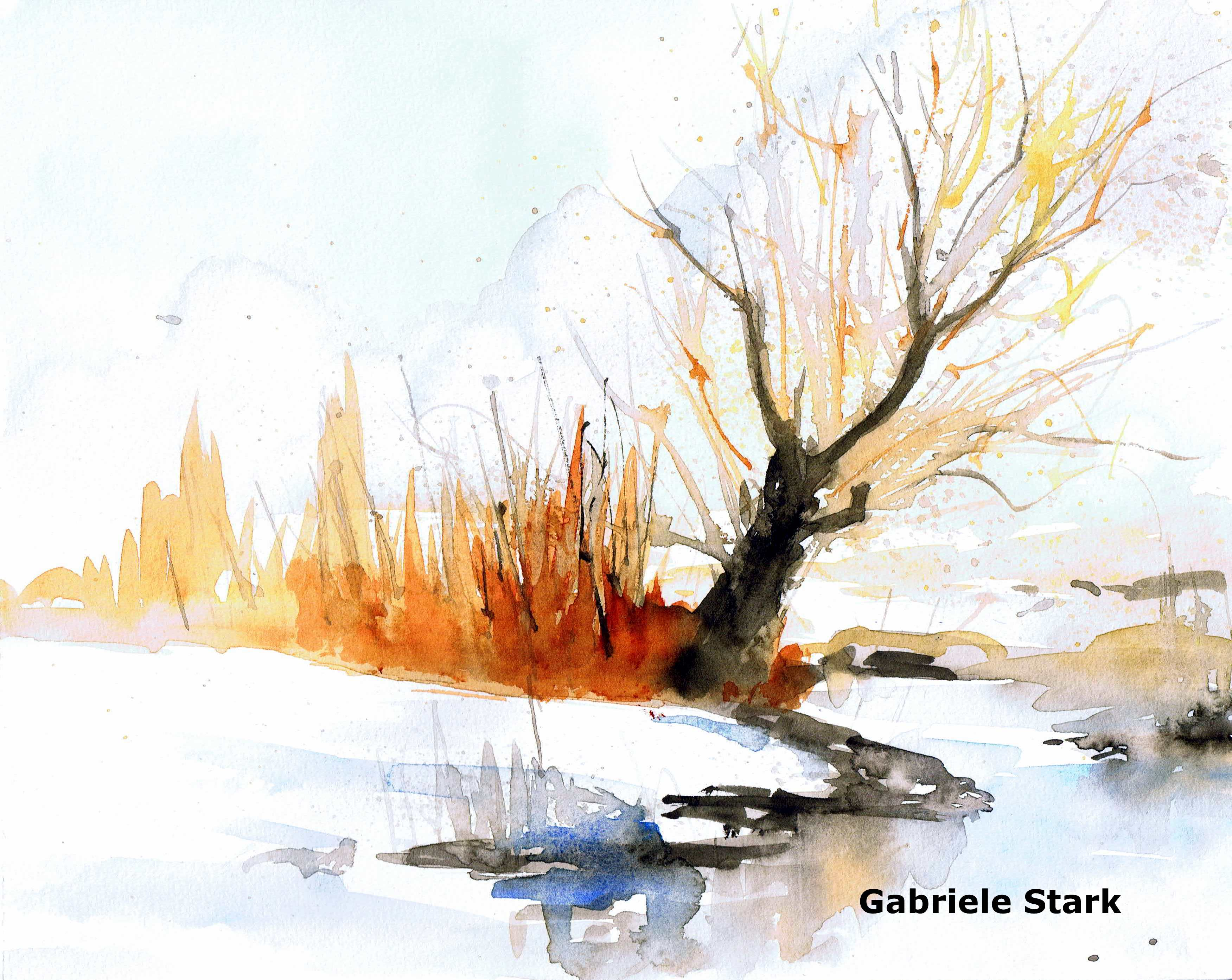 Baum am Bach  aquarellestark