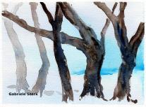 aquarell, watercolor, aquarelle, acquerello, acuarela, bäume, trees, arbres, albero, árbol, nebel, fog, mist, brouillard, brume, antinebbia, fumogeno, niebla, bruma,