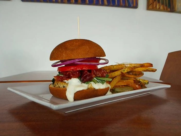 Cordon Bleu Burger at AQUA Restaurant