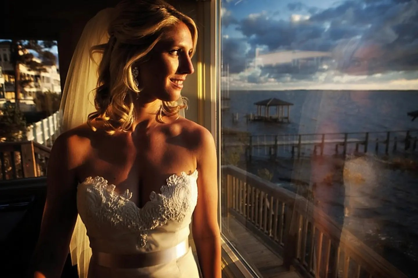 Bride Photos on the Duck NC Waterfront at AQUA Restaurant