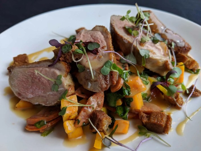 Seared Maple Leaf Farms Duck Breast Fall 2018 AQUA Restaurant Duck NC