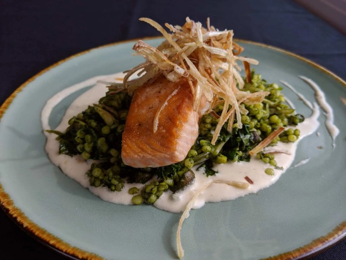 Seared Scottish Salmon Fall 2018 Menu AQUA Restaurant Duck NC