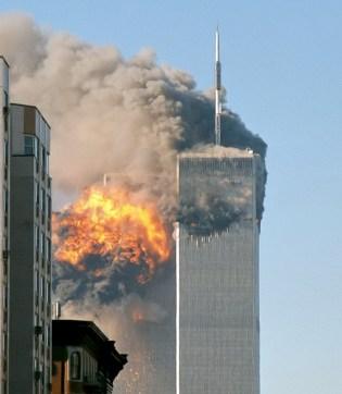09-11-false flag event-North_face_south_tower_after_plane_strike_9-11