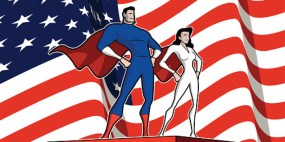 Vector American Superhero Couple Wide