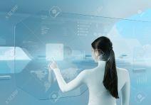 18789011-Future-technology-touchscreen-interface-Girl-touching-screen-interface-in-hi-tech-interior-Business-98754555--Stock-Photo
