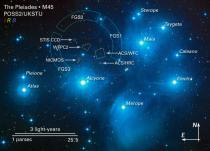 M45 - map w labels of Pleiades & Taygeta