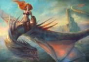 1150x808_21277_Dragon_Warrior_2d_fantasy_castle_woman_dragon_rider_redhead_female_warrior_picture_image_digital_art