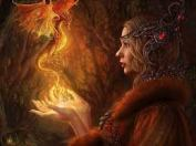 Woman and Dragon Red images
