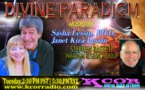 Stephen-Bassett-Paradigm-Research-Group-Divine-Paradigm-Dr-Sasha-Lessin-Janet-Kira-Lessin-KCOR-Digital-Radio-Network-Flyer