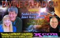 Stephen-Bassett-Paradigm-Research-Group-Divine-Paradigm-Dr-Sasha-Lessin-Janet-Kira-Lessin-KCOR-Digital-Radio-Network-Flyer