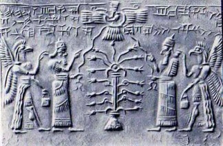 Sumerian Depicon of Anunnaki Gods - Tree of Life - Flying Saucer - Space suits with eagle helmets and wings