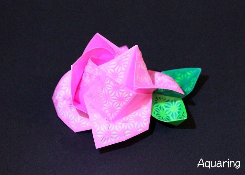 薔薇(バラ)の切り絵折り紙