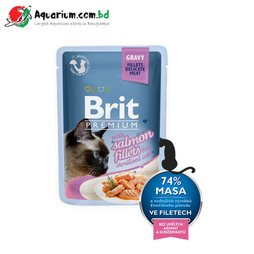 Brit Premium Cat Pouch with Salmon Fillets in Gravy for Sterilised Cats