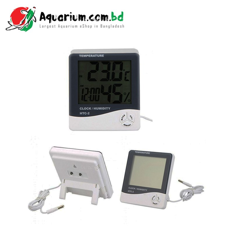 HTC-2 Digital Indoor/Outdoor Thermo-hygrometer Temperature Humidity Meter Tester with Time/Clock