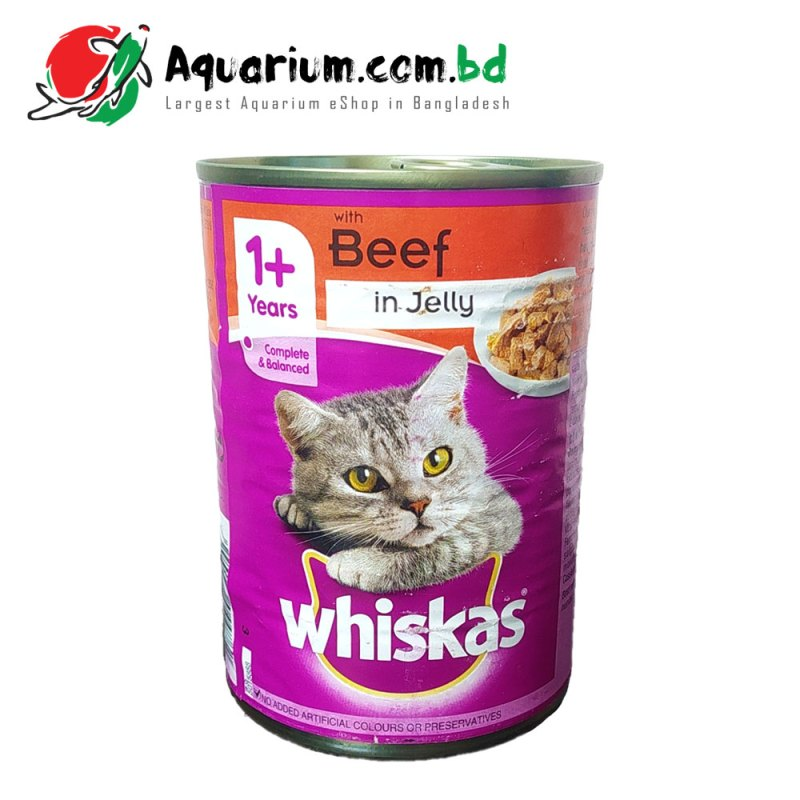 WHISKAS 1+ Years Can with Beef in Jelly(390g)