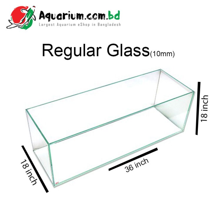 "181 Ltr. 36""x18""x18"" Regular Glass Aquarium- Glass Thickness 10mm"