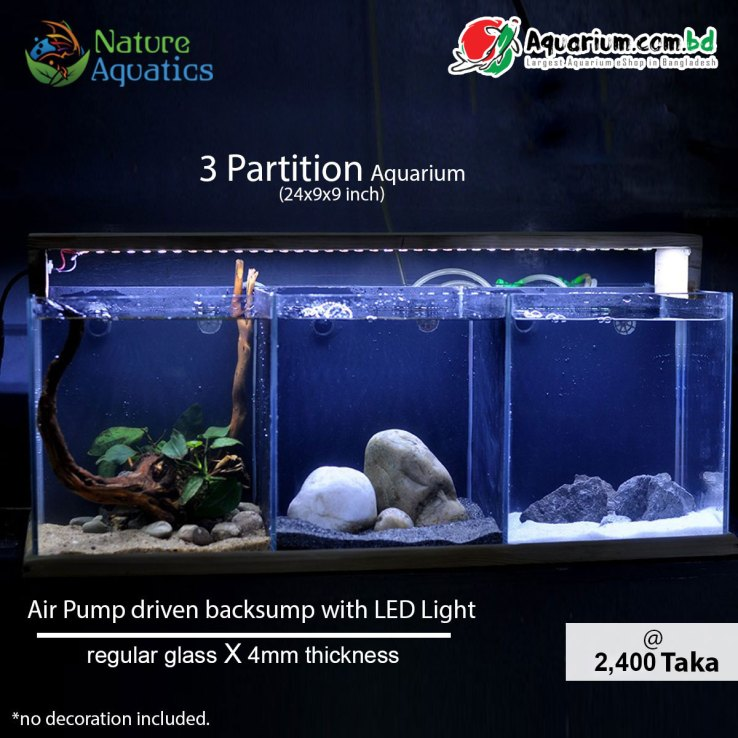 3 Partition Aquarium- 24x9x9 inch(Air Pump driven backsump with LED Light