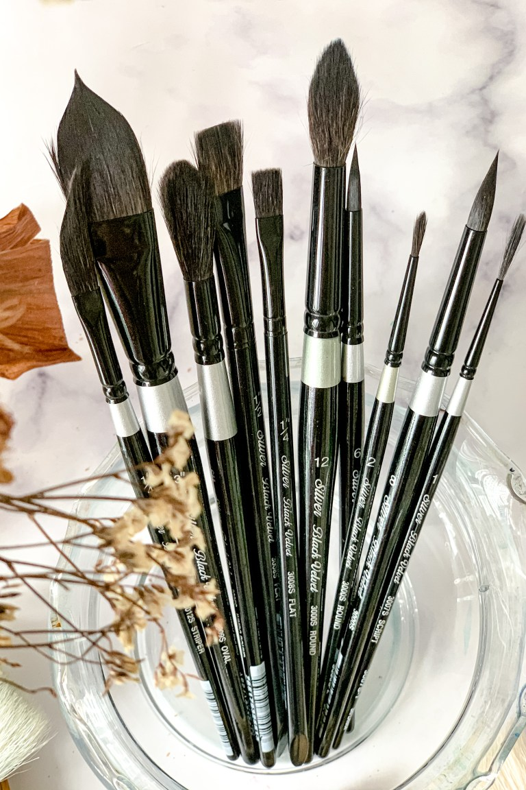 watercolor supplies- brushes
