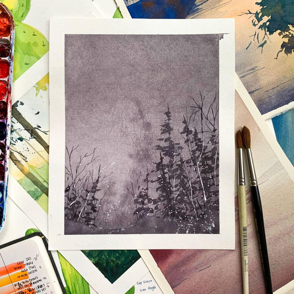 Easy Watercolor Moody and Monochromatic Landscapes