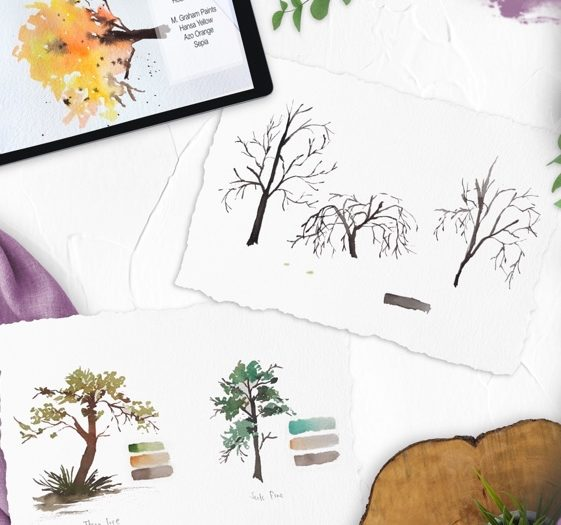 Easy Watercolor Landscape - Painting Trees