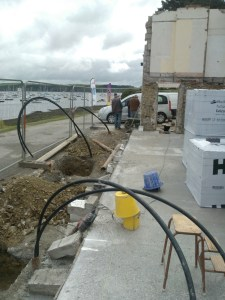 geothermal pipes installed