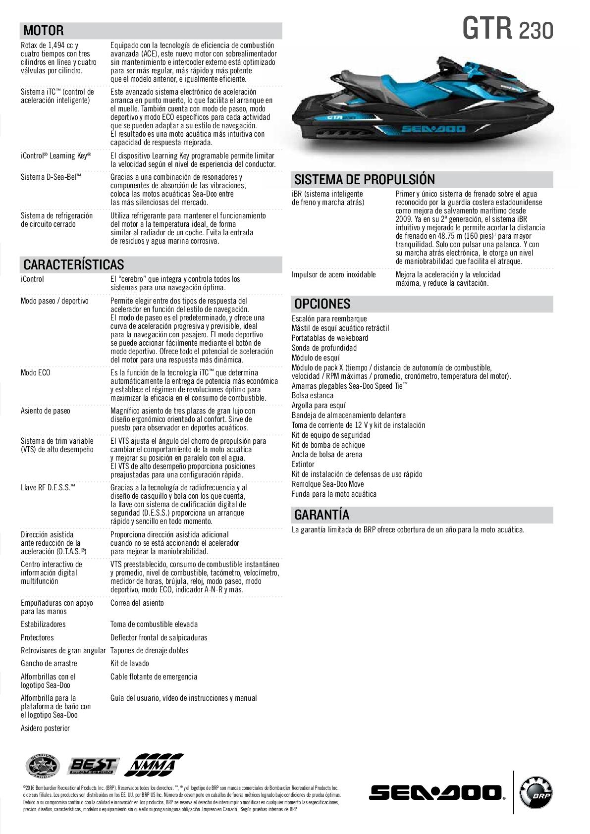 SEA DOO GTR 230HP STD BLACK/GULFSTREAM BLUE