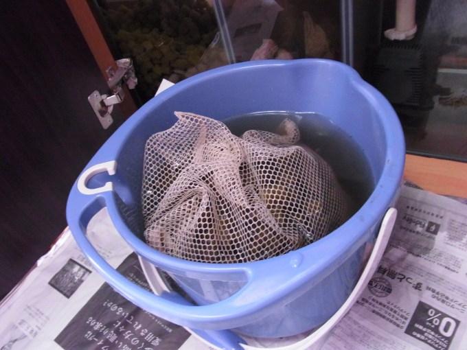 濾材をネットごとバケツに取り出して洗う